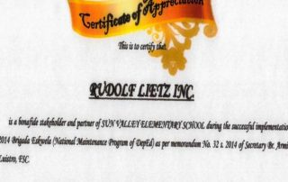 Rudolf_Lietz_Inc_Certificate of Appreciation from SVES 4